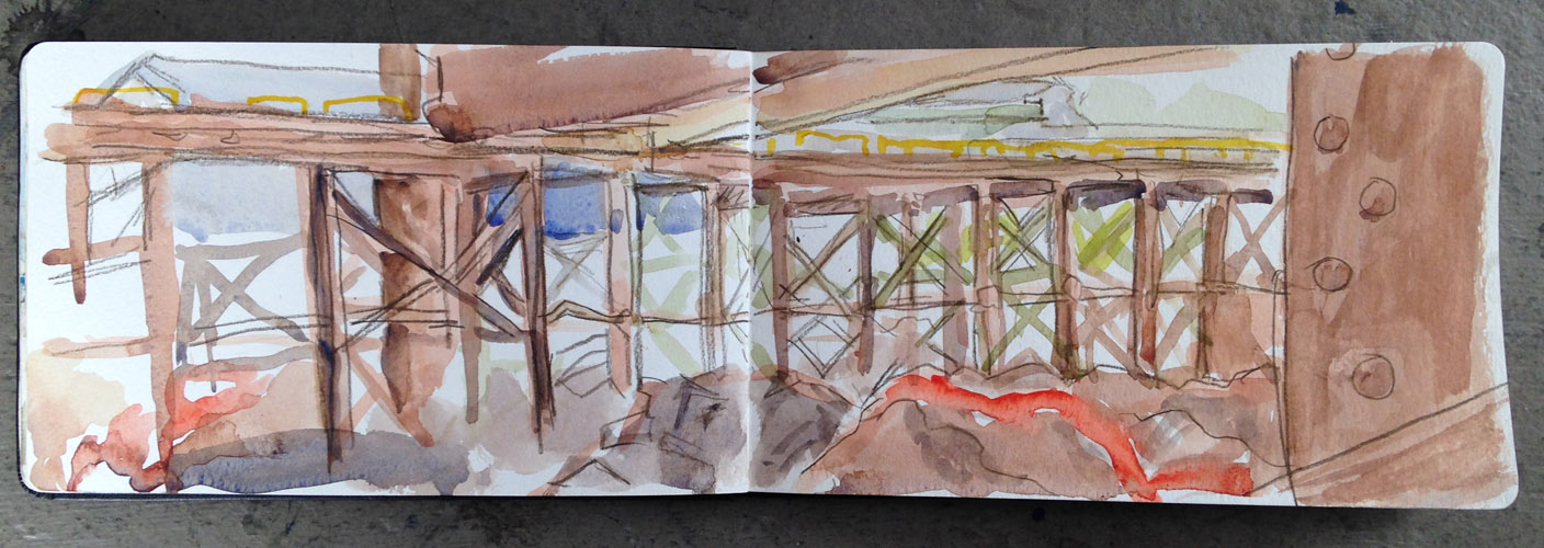 nucor steel, steel mill, urban sketchers